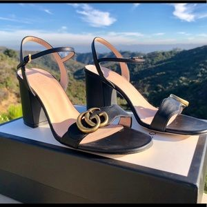 Gucci Marmont Sandals Sz 10 40 Black EUC